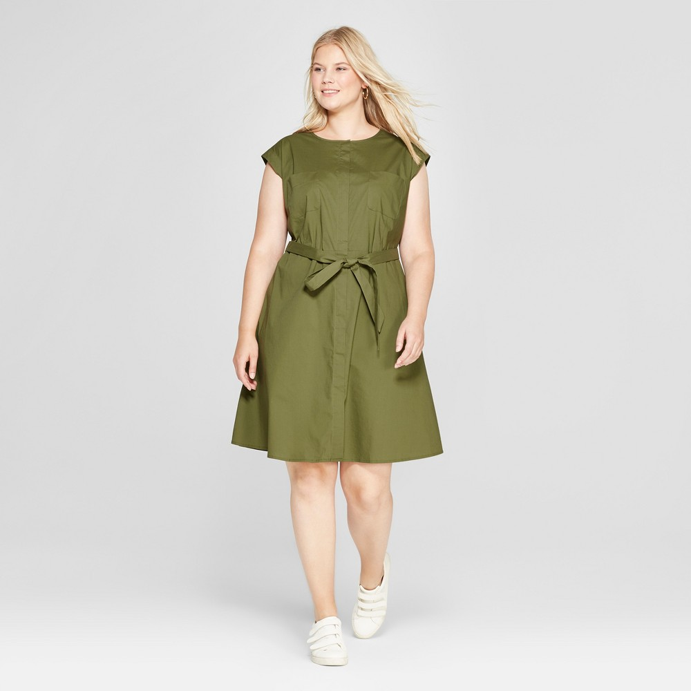Women's Plus Size Shirt Dress - Ava & Viv Olive 4X, Size: Small, Green was $29.98 now $20.98 (30.0% off)