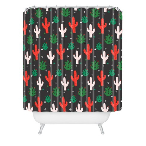 Cactus Christmas Shower Curtain Red