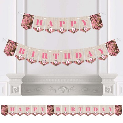 Big Dot of Happiness Pink Gone Hunting - Deer Hunting Girl Camo Birthday Party Bunting Banner - Birthday Party Decorations - Happy Birthday