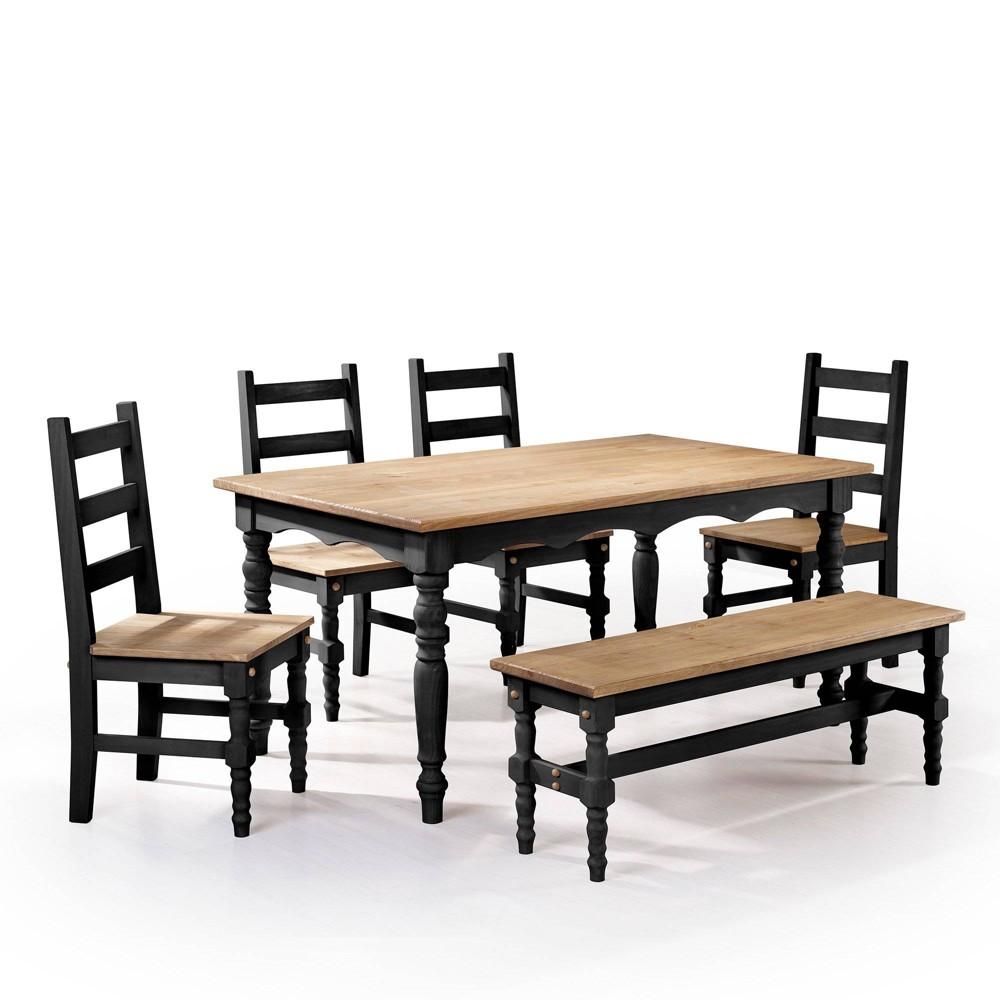 6pc Jay Solid Wood Dining Set Wash Black - Manhattan Comfort