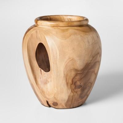 Teak Wood Vase Round - Brown - Threshold™