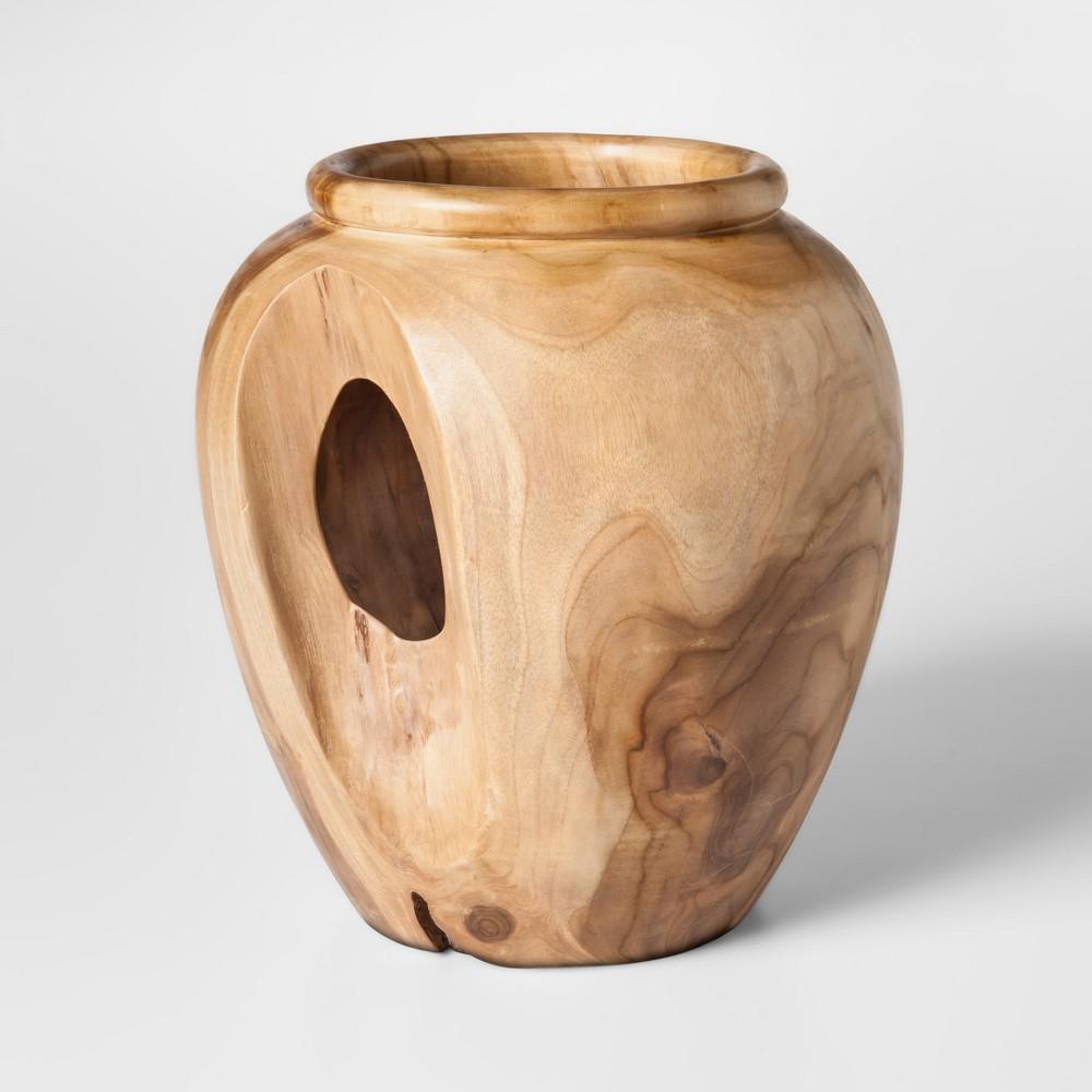 Teak Wood Vase Round - Brown - Threshold