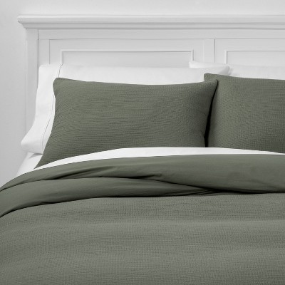 Full/Queen Micro Texture Duvet Cover & Sham Set Olive - Project 62™ + Nate Berkus™