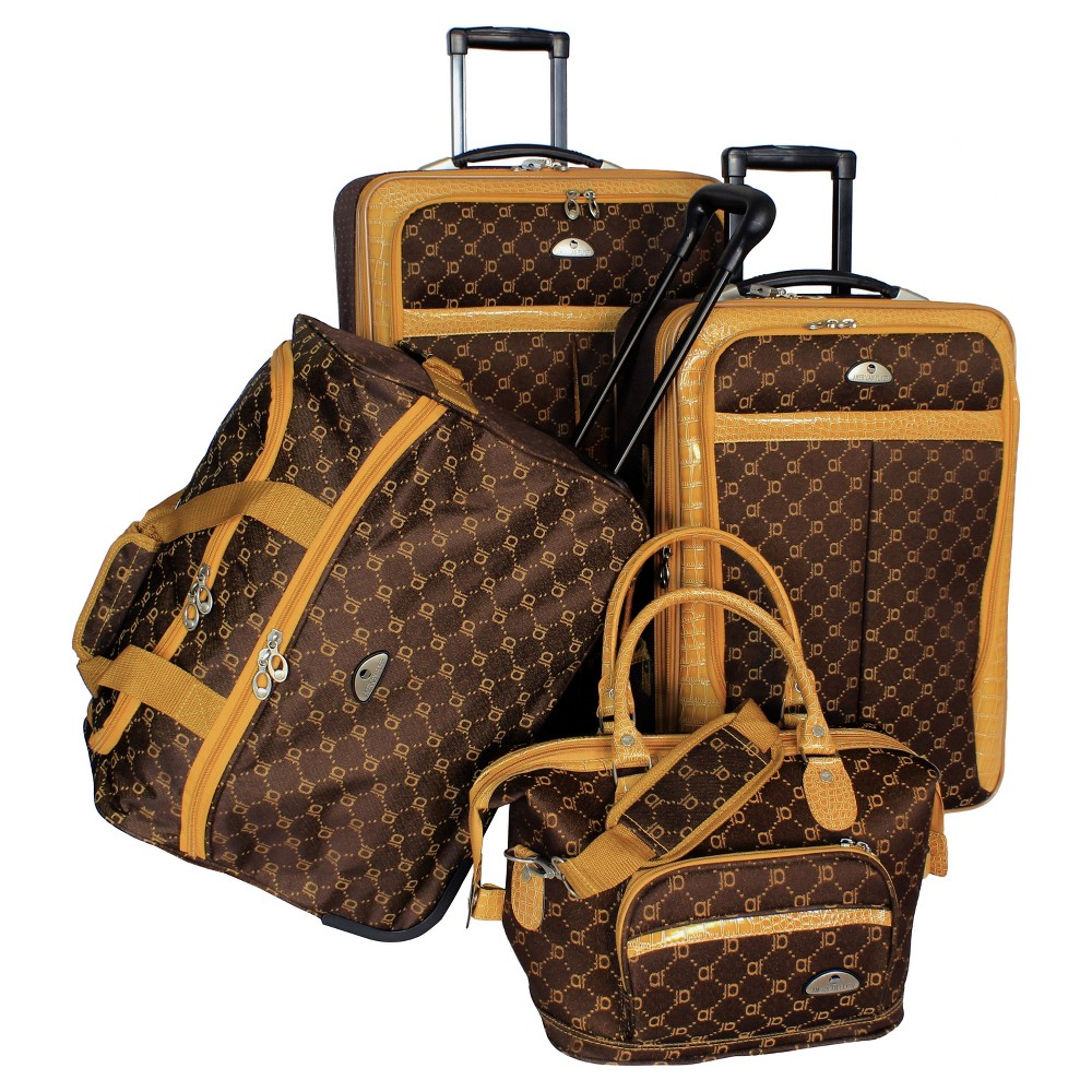 Image of American Flyer Signature 4pc Softside Luggage Set - Chocolate Gold, Brown