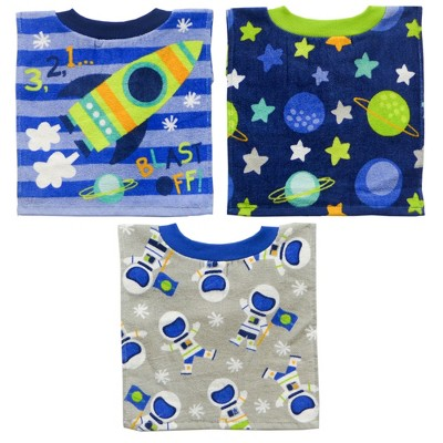 Neat Solutions 3pk Fiber Reactive Pull Over Cloth Baby Bib Set - Blue