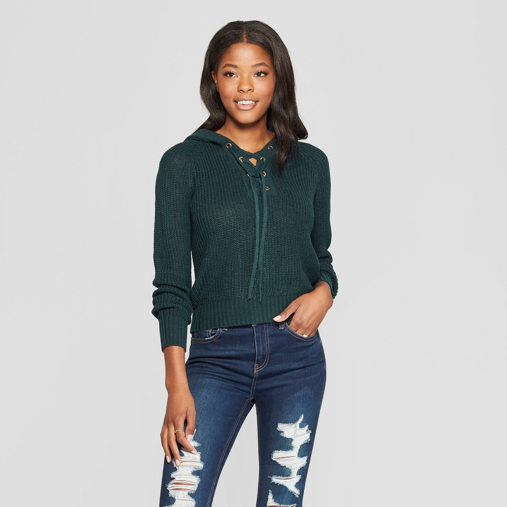 Women's Long Sleeve Lace-Up Hoodie Sweater - Almost Famous (Juniors') Green XL