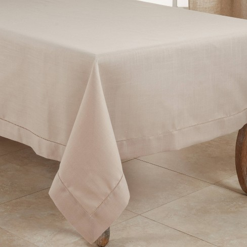 Polyester Hemstitched Border Tablecloth Taupe - Saro Lifestyle - image 1 of 4