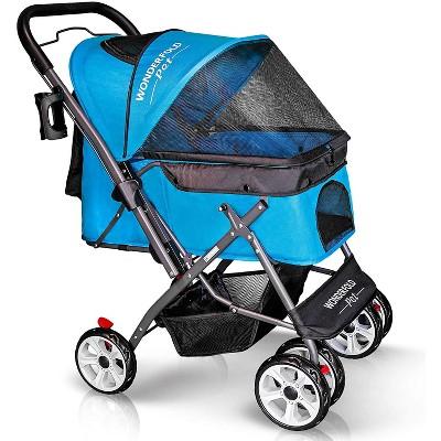 WONDERFOLD P1 Aqua Blue Folding Push Pet Stroller Wagon for Dogs and Cats, Storage Baskets with Zipperless Entry, Aqua Blue