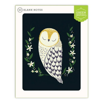 10ct Blank Note Cards Peaceful Owl