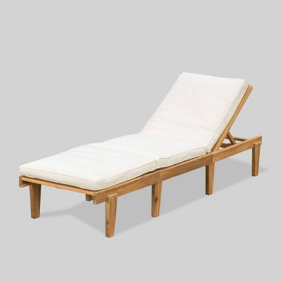 Ariana Acacia Wood Patio Chaise Lounge with Cushion -Teak Finish - Christopher Knight Home