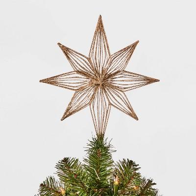 12in Unlit Glittered Bethlehem Star Tree Topper Gold - Wondershop™