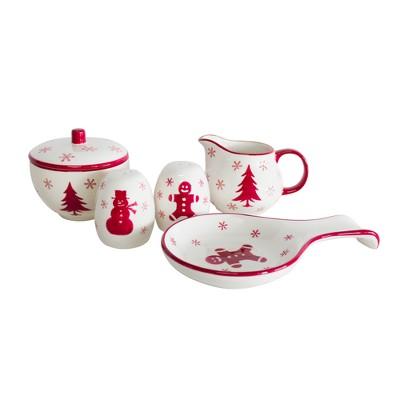 Euro Ceramica Winterfest Ceramic 5pc Tableware Set - Red/White