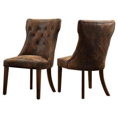 Antoinette Dining Chair -Brown Faux Suede (Set of 2) - Inspire Q - image 1 of 3