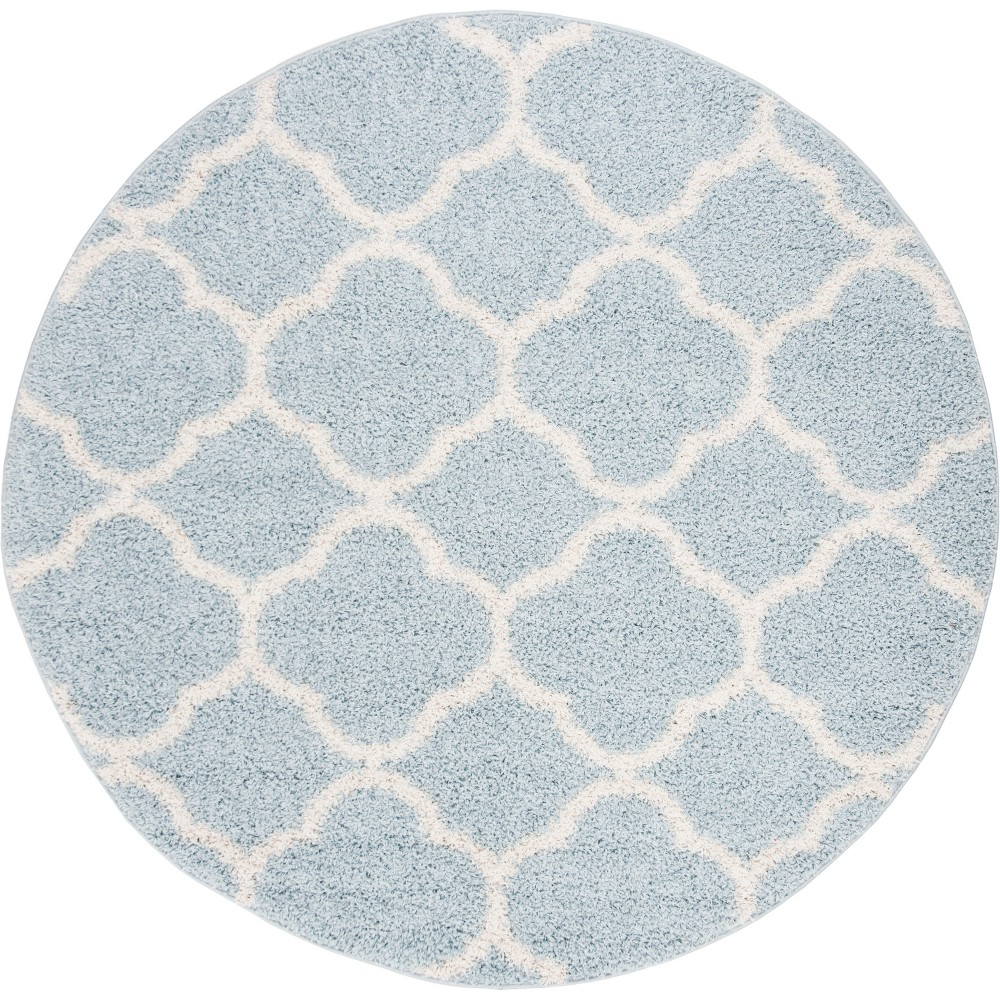 67 Quatrefoil Design Loomed Round Area Rug Blue/Ivory - Safavieh Coupons