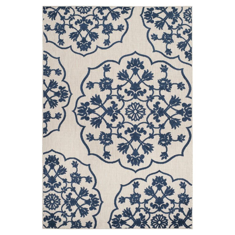 Barden 4'x6' Indoor/Outdoor Rug - Light Gray/Royal Blue - Safavieh, Ivory/Royal