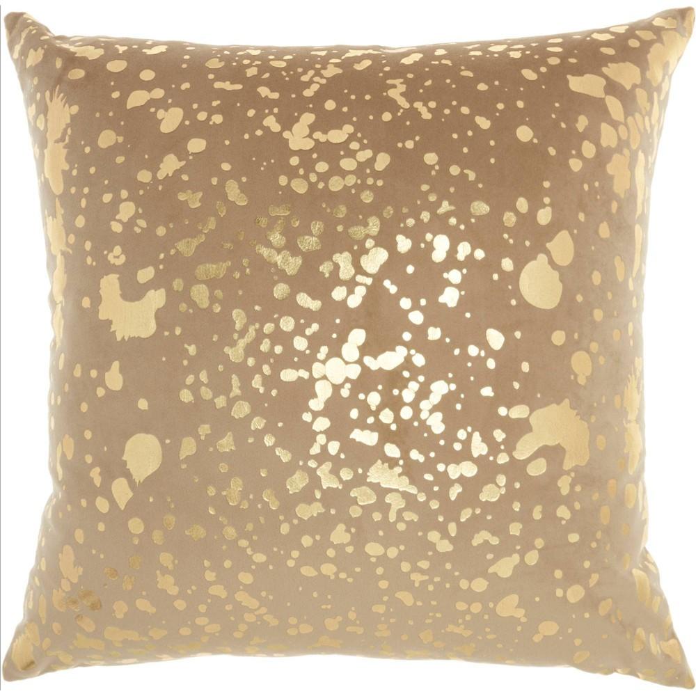 Image of Luminescence Metallic Splash Square Throw Pillow Beige - Nourison