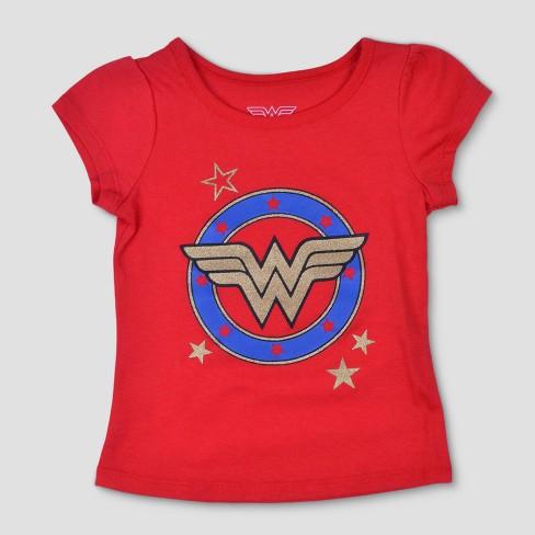 69d20775 Toddler Girls' 3pk DC Comics Wonder Woman Short Sleeve T-Shirt - Blue/Red