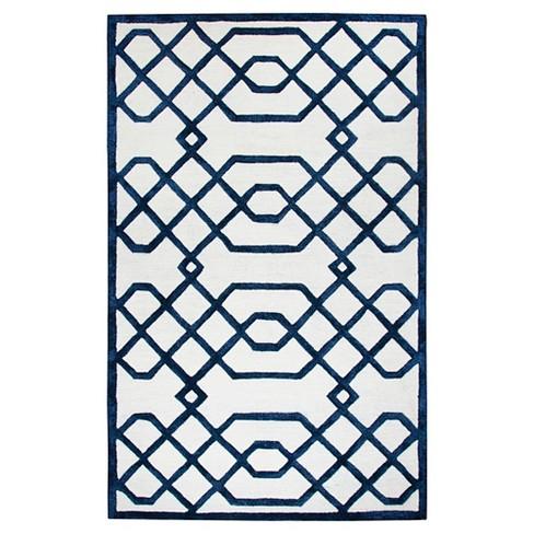 Off White Geometric Trellis Rug (3'x5') - Rizzy Home® - image 1 of 4