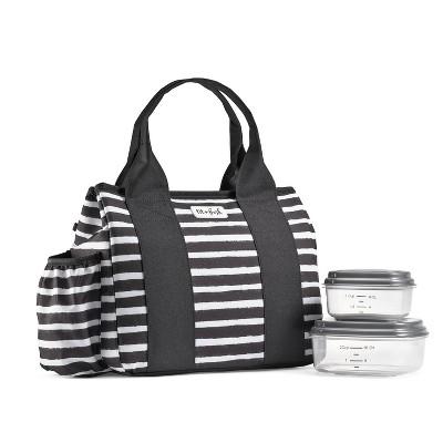 Fit & Fresh Sanibel Lunch Tote - Black White Stripe