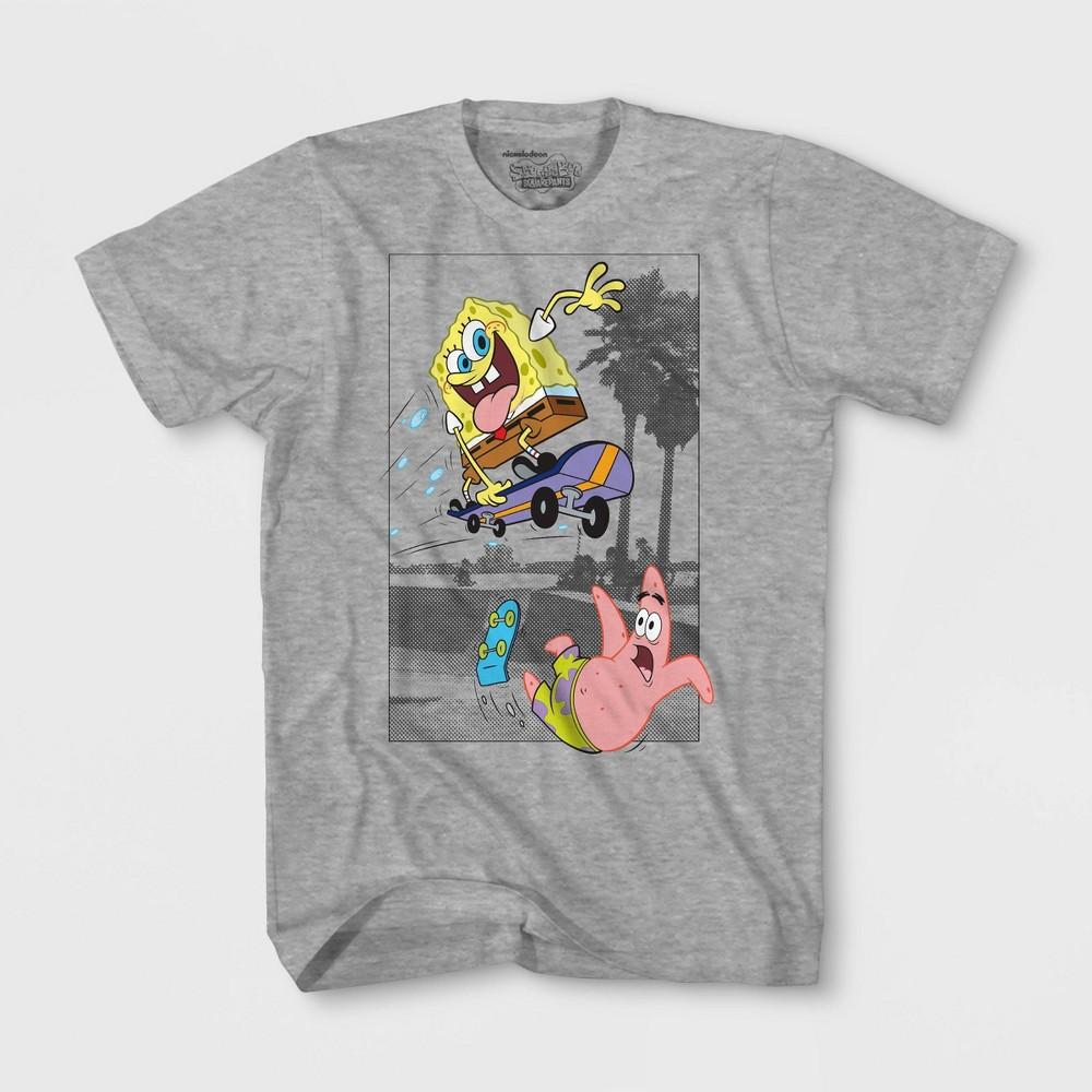 Image of Boys' Nickelodeon Spongebob Squarepants T-Shirt - Gray, Boy's, Size: Large