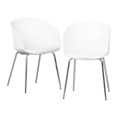 Set of 2 Flam Dining Chairs with Silver Metal Legs - South Shore