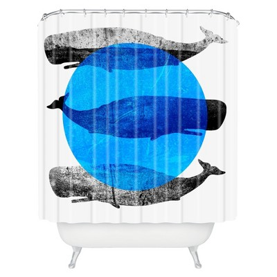 Whales Shower Curtain Modern Blue - Deny Designs