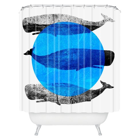 Whales Shower Curtain Modern Blue