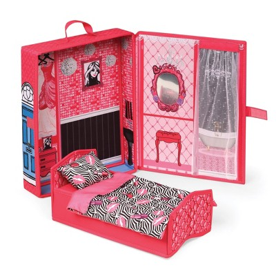 """Home & Go Dollhouse Playset Travel & Storage Case with Bed/Bedding for 12"""" Fashion Dolls - Pink"""