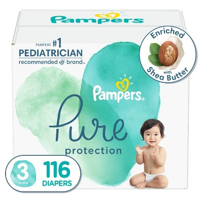 Pampers Pure Protection Disposable Diapers Enormous Pack Size 3 - 116ct