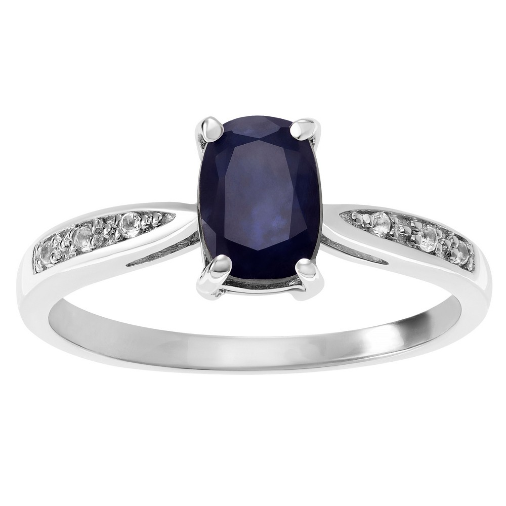 1 CT. T.W. Oval-cut Sapphire CZ Accent Basket Set Ring in Sterling Silver - Blue, 7