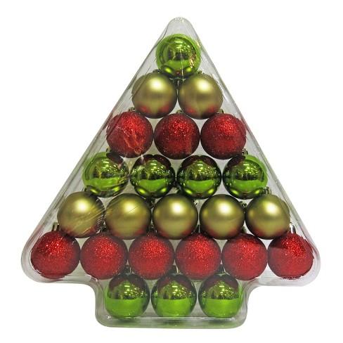 24ct 40mm Red Green Gold Christmas Ornament Set Wondershop
