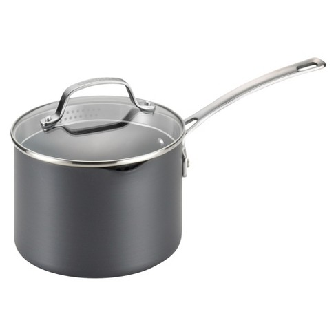 Circulon Genesis 3 Quart Hard-Anodized Covered Straining Saucepan - Gray - image 1 of 3