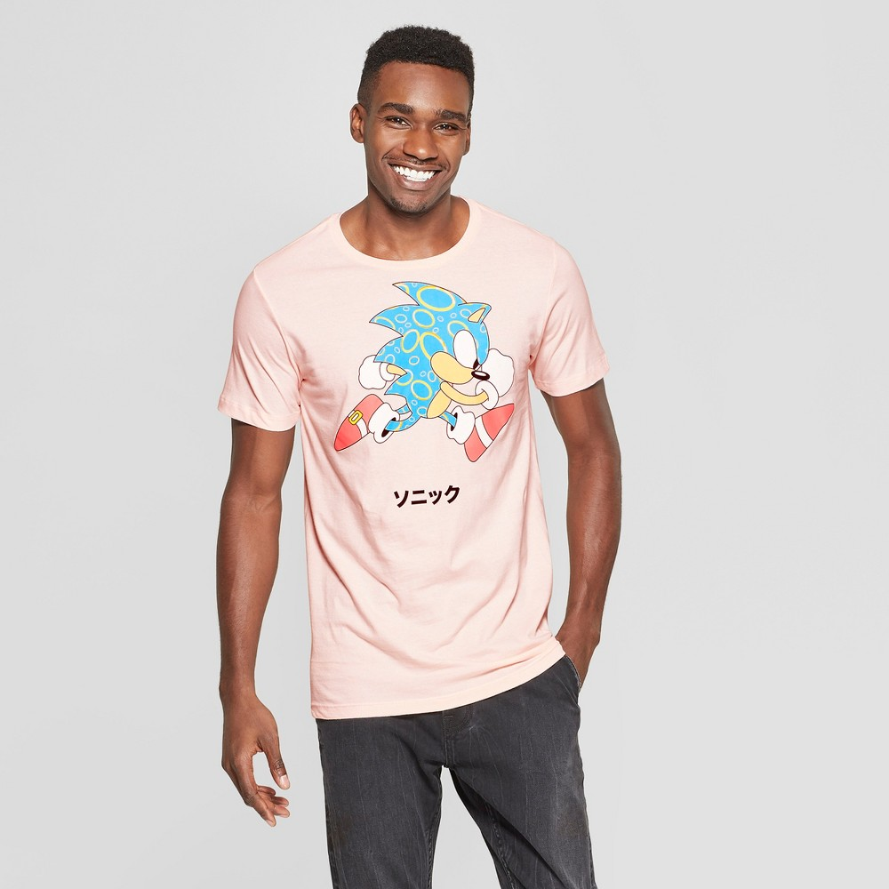 Image of Men's Sonic the Hedgehog Short Sleeve Graphic T-Shirt - Pink S, Men's, Size: Small