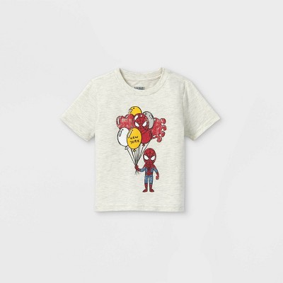 Toddler Boys' Spider-Man Balloons Short Sleeve Graphic T-Shirt - Cream