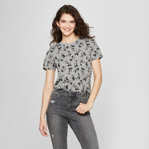 Women's Disney Short Sleeve Mickey Mouse Print T-Shirt (Juniors') Heather Gray - image 1 of 2