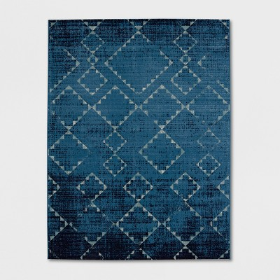 7'x10' Distressed Diamonds Outdoor Rug Navy - Threshold™