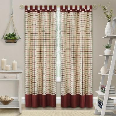 Kate Aurora 2 Pack: Shabby Farmhouse Plaid Tab Top Tattersall Window Curtains