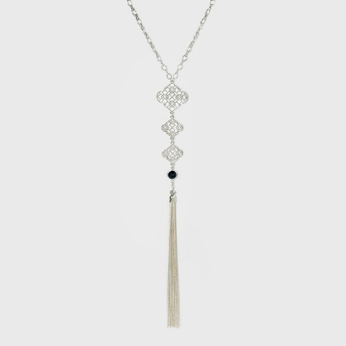 Three Filigree and Chain Tassel Long Necklace - A New Day™ Silver - image 1 of 3