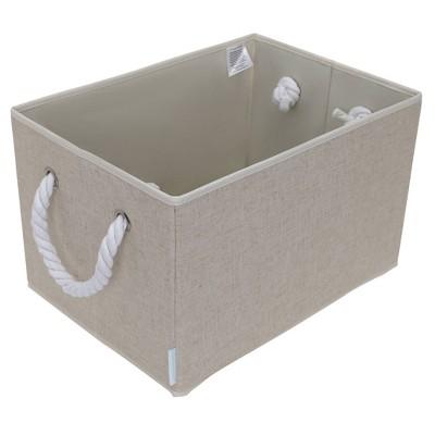 StorageWorks Set of 2 34L Fabric Storage Bins with Cotton Rope Handles Beige