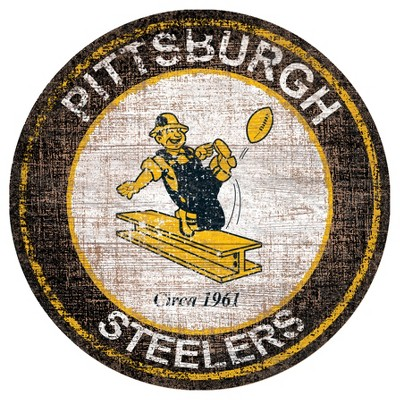 "NFL Pittsburgh Steelers Fan Creations Heritage Logo 24"" Round Sign"
