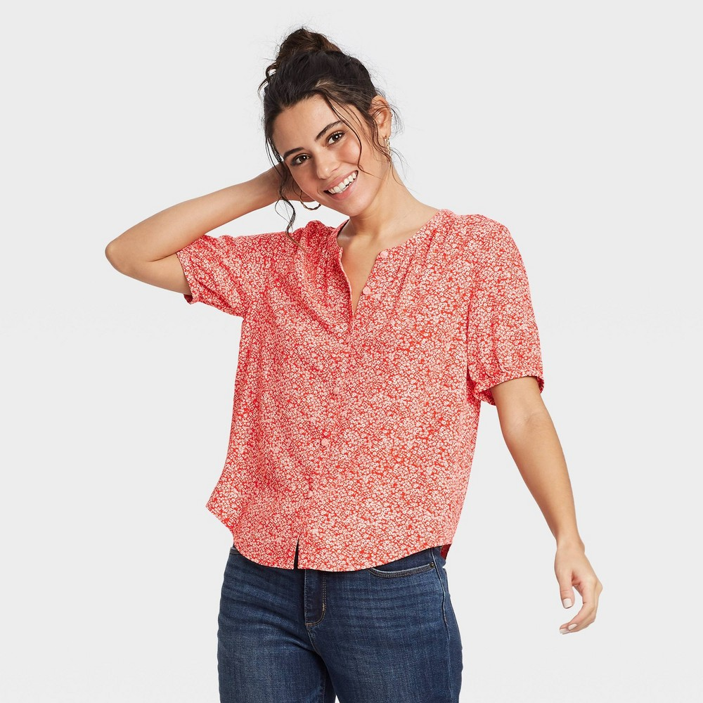 Women 39 S Floral Print Short Sleeve Tie Front Button Down Blouse Universal Thread 8482 Red Xs