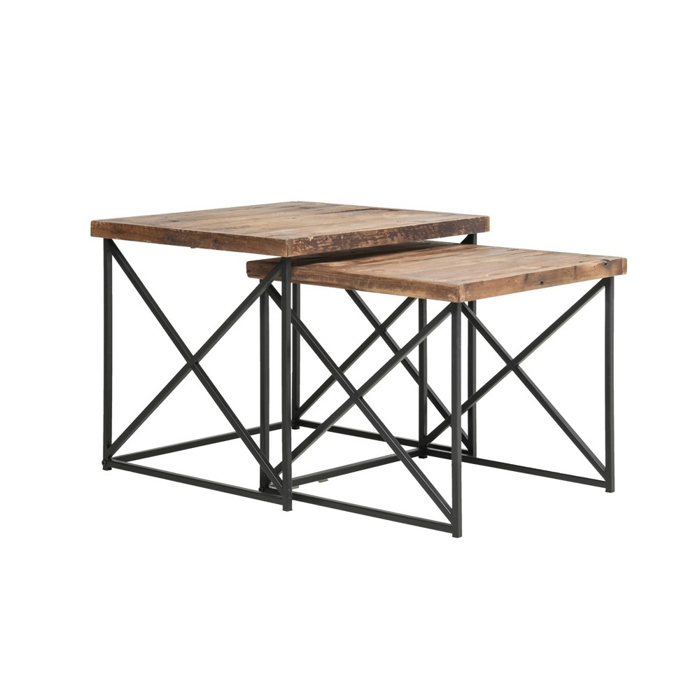 Set of 2 Layton Reclaimed Wood Nesting Tables Brown/Black - Summerland Home