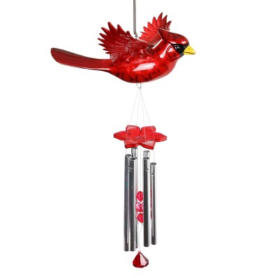 """24"""" Resin Cardinal Fluttering Wings Wind Chime Red - Exhart"""