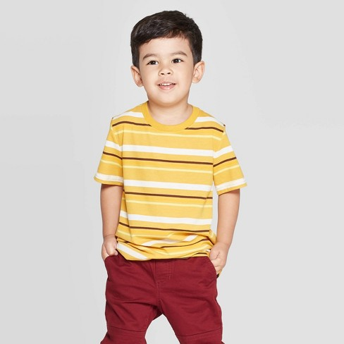 Toddler Boys' Striped Short Sleeve T-Shirt - Cat & Jack™ Yellow - image 1 of 3
