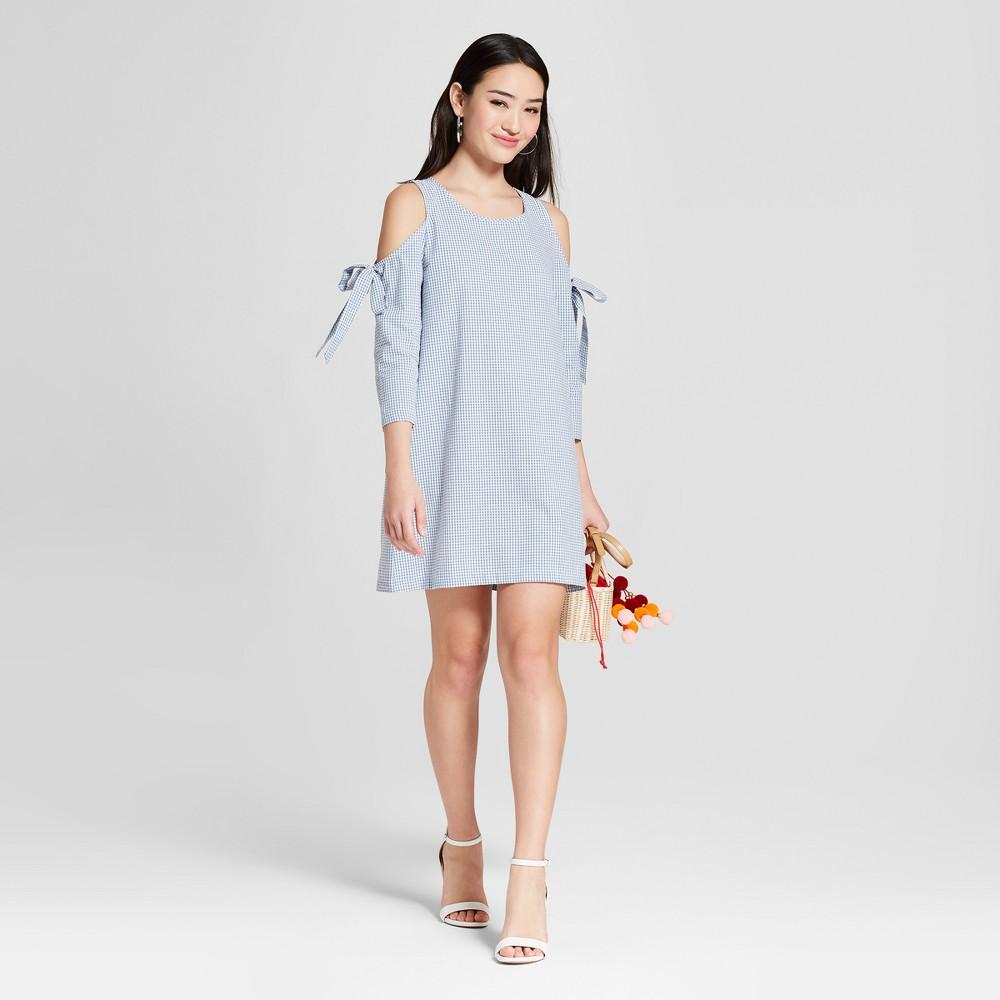 Women's Gingham Cold Shoulder Tie Dress - Soul Cake (Juniors') Blue L, Size: Small was $29.98 now $13.49 (55.0% off)
