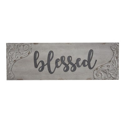 """36"""" x 12"""" Blessed Wood and Metal Vintage Wall Plaque Sign White - American Art Decor"""