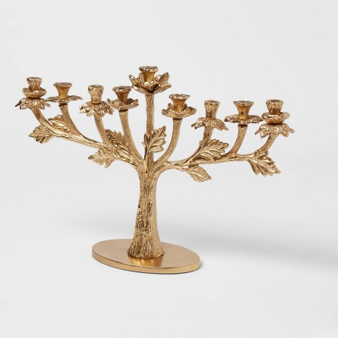 "9.5"" x 14.5"" Floral Menorah Aluminum Candle Holder Gold - Opalhouse™ - image 1 of 2"