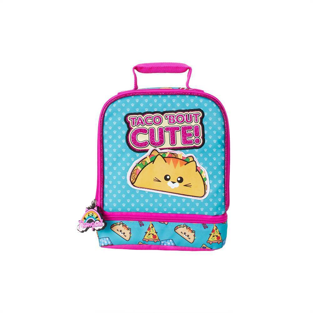 Image of Meowgical Taco Bout Cute Dual Compartment Lunch Bag - Blue/Pink