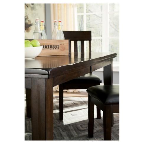 Haddigan dark brown rectangular dining room extendable table haddigan dark brown rectangular dining room extendable table signature design by ashley target watchthetrailerfo