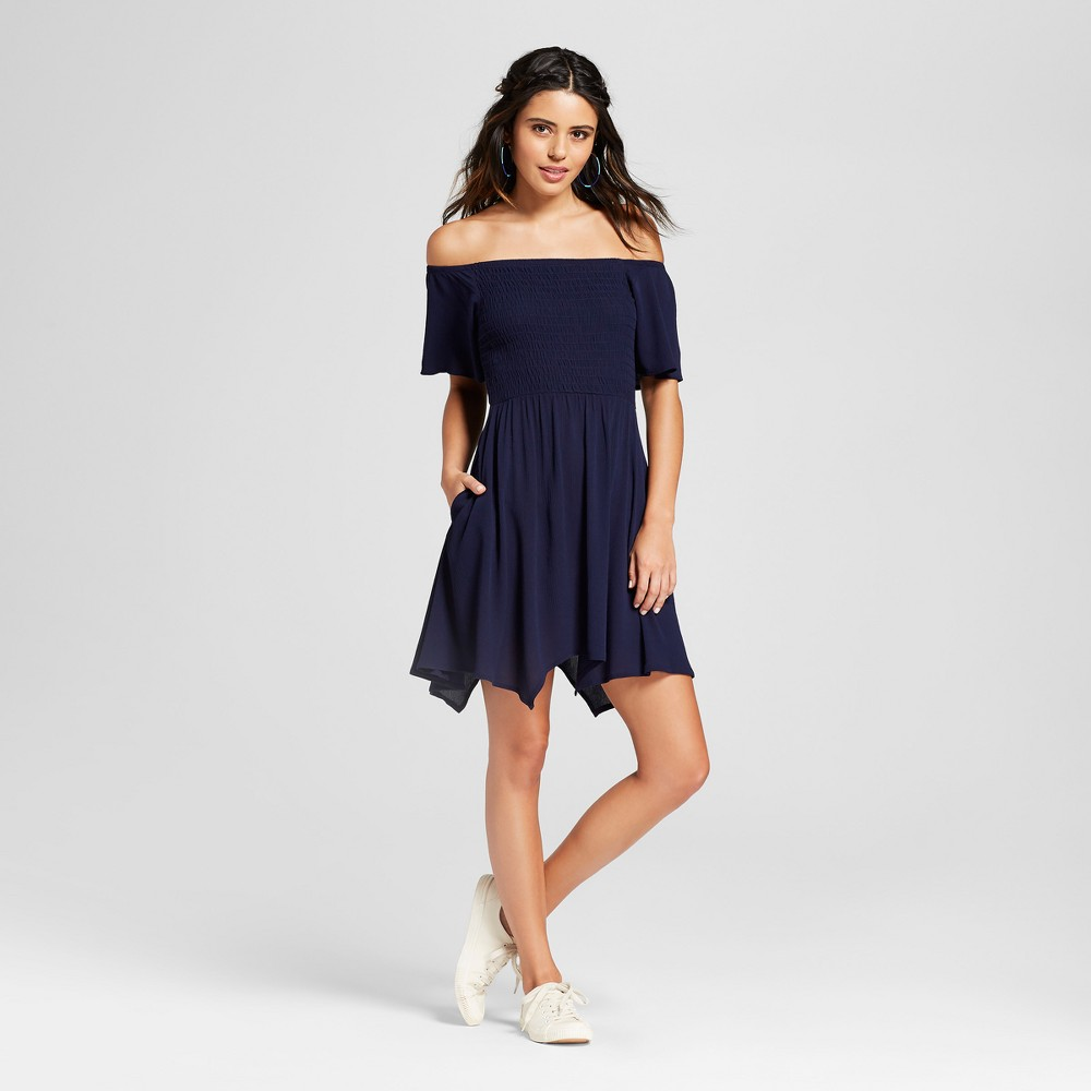 Women's Off the Shoulder Dress - Lots of Love by Speechless (Juniors') Navy S, Blue was $29.98 now $13.49 (55.0% off)